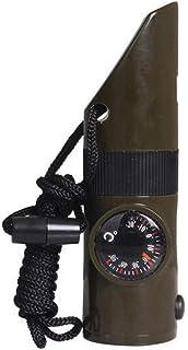 YUNFEILIU Boussole Feu Séisme Survie 7 en 1 Multifonction Survie Sifflet Thermomètre LED Lampe De Poche en Plein Air Camping Randonnée Utilitaire