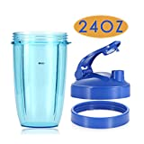 Replacement Accessories for Nutribullet 600W 900W, 24oz Tall Cup + Blue Flip Top to Go Lid + Blue Lip Ring