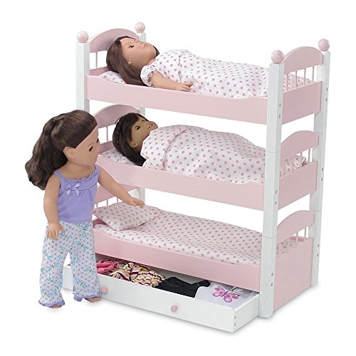 18 Inch Doll Furniture | Lovely Triple Bunk Bed, Includes 3 Stackable Single Beds, One with Doll Clothes Storage Trundle Drawer | Fits 18