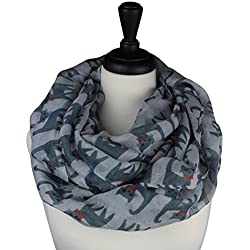 KnitPopShop Cat Scarf Infinity Loop Bow Ties for Women (Grey and White)