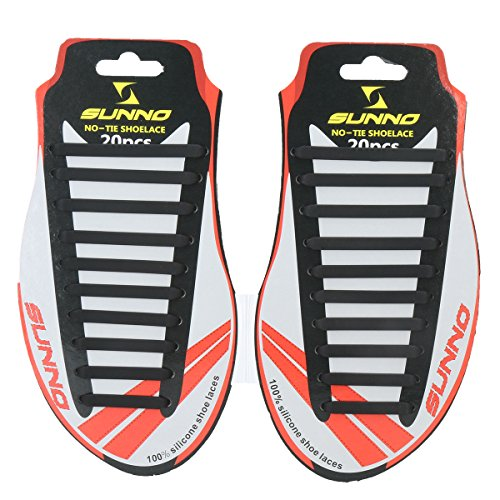 SUNNO Innovative Ultimate No-Tie Shoelaces Convenient & Flexible Laces, Durable & Waterproof Silicone Material, Modern & Trendy Design, Universal Fit, Easy-to-Use Shoelaces for Kids, Seniors