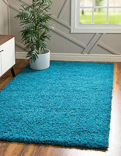 Unique Loom Solo Solid Shag Collection Modern Plush Turquoise Area Rug 3' 3 x 5' 3