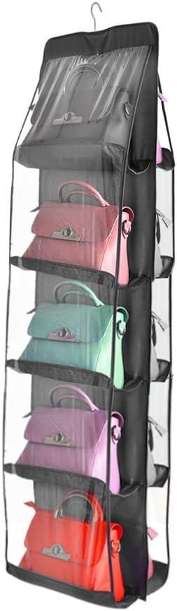 Senweit Wand montiert Handtasche H/ängende Aufbewahrung Tidy Organizer Rack-Halter L/ösung platzsparend vielseitig Taschen Stoff Material f/ür Schlafzimmer Wohnzimmer Badezimmer Schrank Schr/änke grau