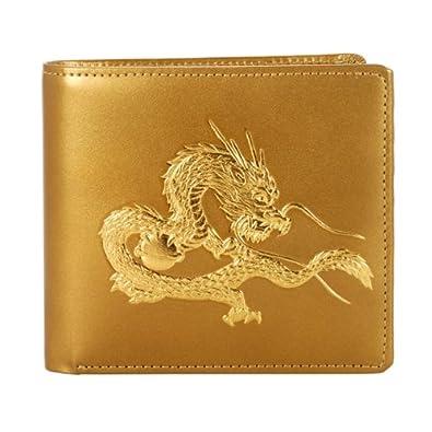 2e23a5dd5ffe Amazon | [皇帝龍]高級・牛革・二つ折り財布・22金粉浮き押し-金運、財運 ...