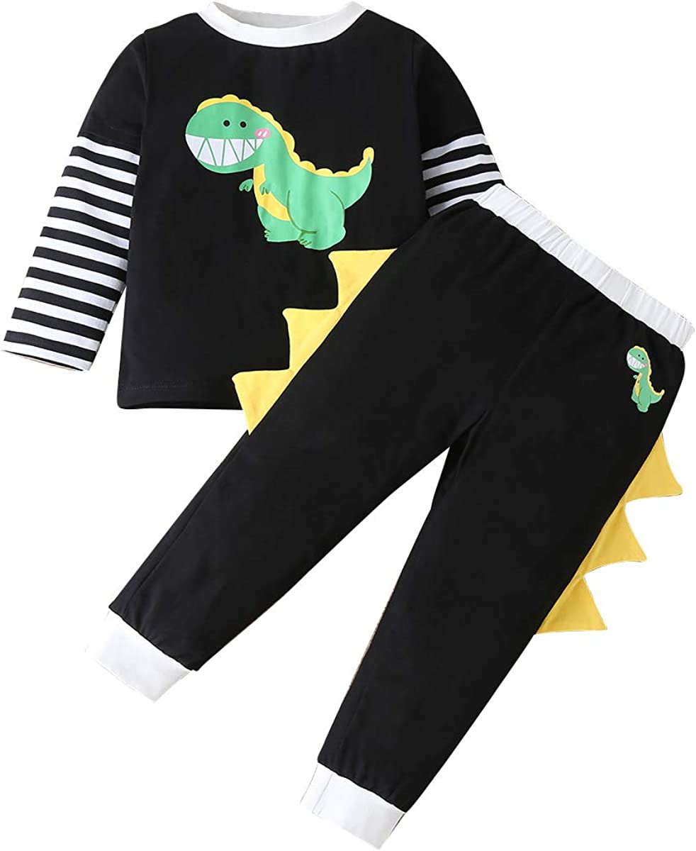 TM Little Boys Dinosaur Hoodie Sets,Jchen Toddler Baby Boys Summer Sleeveless Tops+Shorts Outfits for 0-24 Months