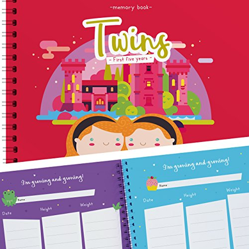 [Twins First Five Years Memory Book - A Gorgeous Journal To Cherish Your Twin's First Five Years Forever! Birthdays, Family Tree, Holidays, Letters From Mom & Dad and Much More!] (Book Week Ideas)