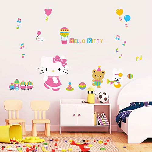 (Hesuimaoyi Hello Kitty Wall Sticker Children's Bedroom Car Wall Sticker PVC Removal)