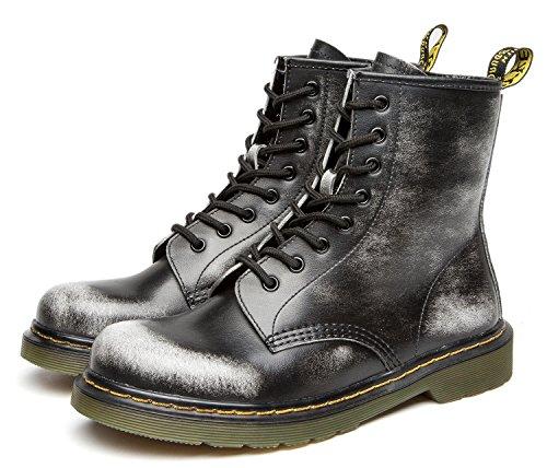 uBeauty Damen Leder Martin Stiefel mit Reißverschluss Großes Leder flache Boots Grau