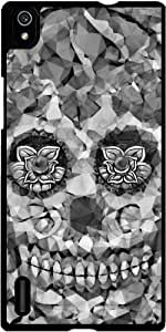 Funda para Huawei AscendP7 - Sugarskull Polígono B & W by More colors in life