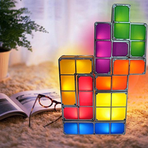 Tetris Puzzle Desk Lamp LED Constructible Block Table Decorative Stackable Night Light- Novelty ...