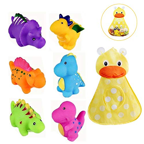 Set of 6 Dinosaur Baby Bath Toys + Mesh Duck Organizer Fun Squirt Toys for Bathtub Bathroom Floating Toys for Kids Infant Toddlers
