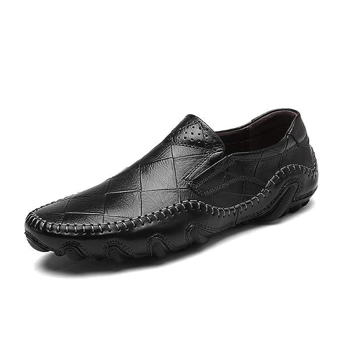 FHTD Zapatos De Hombre Cuero Primavera Otoño Mocasin De Moda Mocasines Y Slip-ONS Volantes De Oficina,Black,44: Amazon.es: Ropa y accesorios