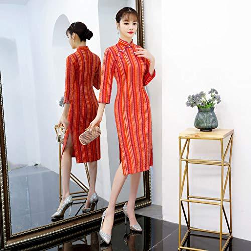 Mejorado Rayas Nueva Orange Hoja De Orange Vestido Cheongsam Elegante Retro Yaotiao Chica Xl Largas Algodón Arce Tamaño color Rojo qt8wPUd