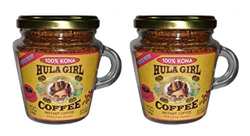 2-Jars 100% Hula Bird Instant Kona Coffee Freeze Dried Jar with Handle 1.4 oz (40g)