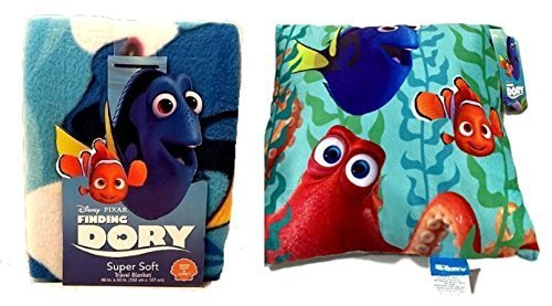 Finding Dory Plush Decorative Pillow 2 Piece Set Stuffed Pillows Fleece Throw Soft Travel Blanket Kids (Homemade Food Halloween Costume)