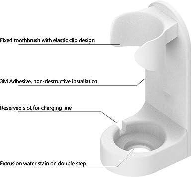 SUNERLORY Porta spazzolino Elettrico Facile da Pulire Bagno Toilette Salvaspazio Organizzatore Fissato al Muro Scaffale Regalo Universale Staccabile Antimacchia Pugno Traceless Gratuito