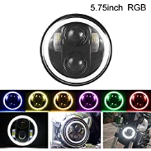 "5.75"" RGB Halo Headlight,Motorcycle 5-3/4"" Led Headlamp With Angel Eye RGB Halo Ring Bluetooth Phone APP Controlled For Harley Davidson Dyna"