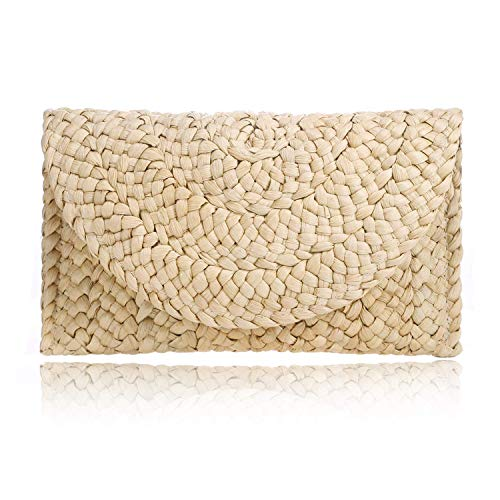 Women Straw Clutch Handbag Envelope Bag Hasp Beach Bag Woven Bag Purse ()