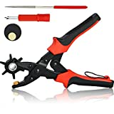 7TECH Leather Hole Punch Tool Heavy Duty Revolving Punch Plier Metal Tool Professional Best Puncher for Belt,Watch Strap,Saddle,Shoe, Fabric, Paper, etc