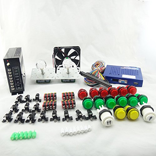 BLEE Amusement Multi Video Arcade Games Kit with 619 in 1 Game Board Arcade Joystick Power Supply Plug Button Microswitch Cooling Fan by BLEE