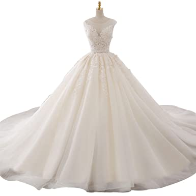 Annies Bridal Gown White Lace A Line Wedding Dress Tulle Ball Gown Princess Prom Dress Long