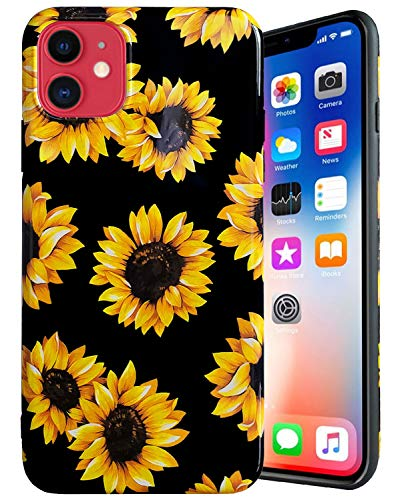 J.west iPhone 11 Case, Vintage Floral Cute Yellow Sunflowers Black Soft Cover for Girls/Women Flexible TPU Silicone Slim…