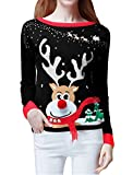 Womens Ugly Christmas Sweater, V28 Ladies Girls Cute Reindeer 3D Nose Sweater