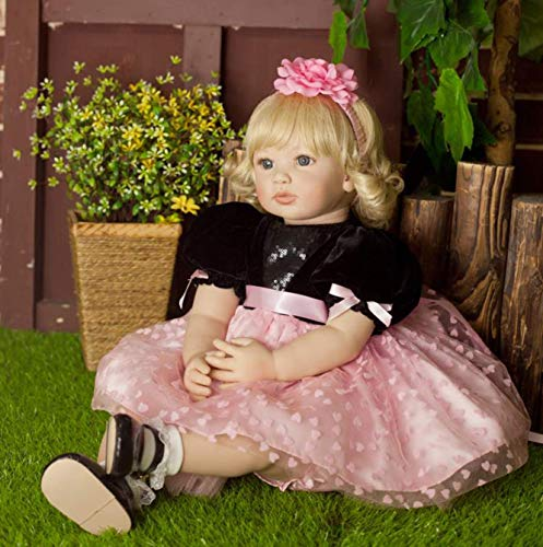 PURSUEBABY Beautiful Soft Body Real Life Princess Girl Doll with Blond Curly Hair Luna, 22 Inch Lifelike Toddler Doll with Magnetic Pacifier Snuggle Soft Children Gift