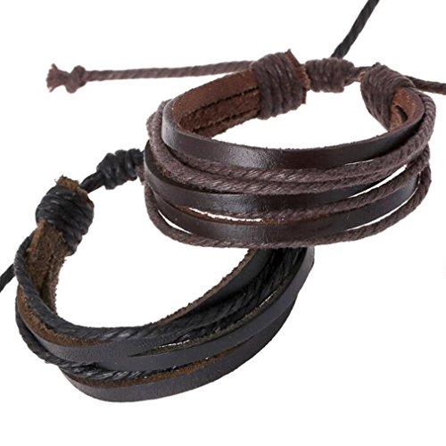 TENGZHEN Leather Multilayer Adjustable Bracelet