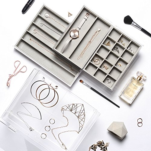 beautify-acrylic-jewelry-cosmetic-organizer-box-with-3-storage-trays-gray-suede-dividers-clear-gray