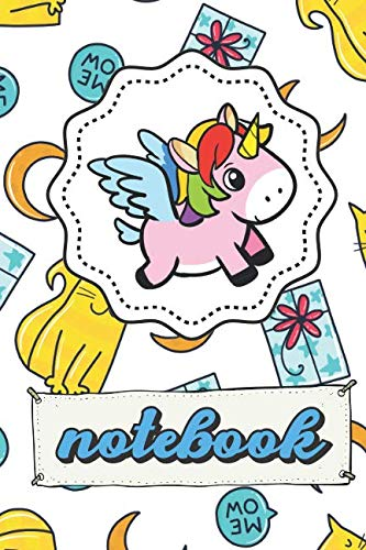 Notebook: Unicorn Note Book With Meow Kitty Cat Moon Gift Pattern, Lined Paper Note Book For Girls To Draw, Sketch & Crayon or Color (Kids Teens Adult Journal With Star On Back)