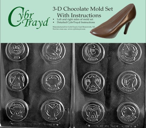 - Cybrtrayd M196AB Chocolate Candy Mold, Includes 3D Chocolate Molds Instructions and 2-Mold Kit, Zodiac Box Kit