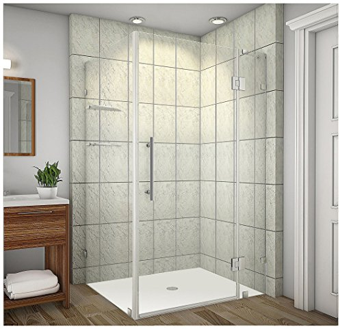 Aston Avalux GS Completely Frameless Shower Enclosure with Glass Shelves, 42