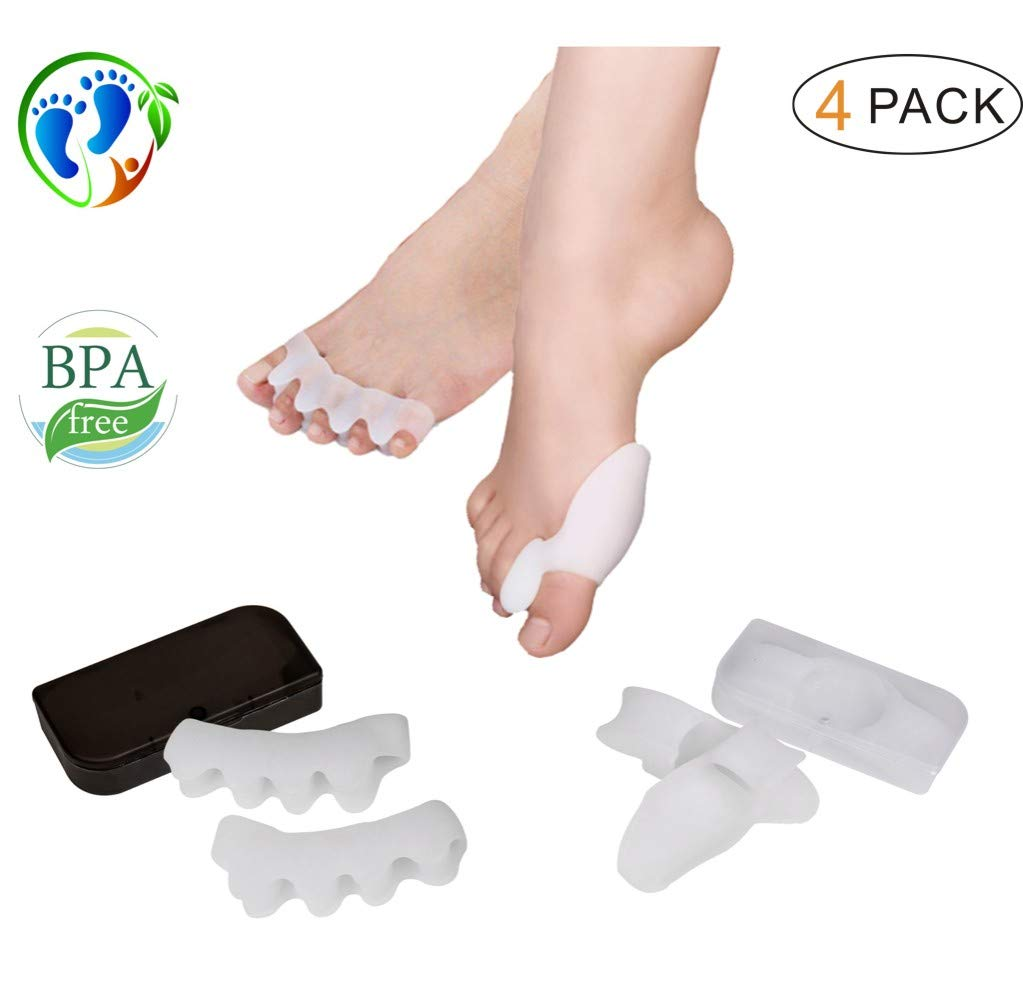 Bunion Protector Corrector, Gel Toe Separator & Straightener, Set of 4 Stretchy Silicone Cushion for Foot Pain Relief, Fight Bunions, Plantar Fasciitis - Wear with Shoes for Women by Aixixi