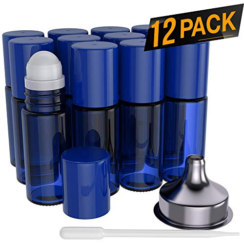 Essential Oil Roller Bottles [Plastic Roller Ball] FREE Plastic Pippette and Funnel - Refillable Glass Color Roll On for Fragrance Essential Oil - 30ml 1 oz (12 PACK, BLUE) (Free Plastic Bottle)