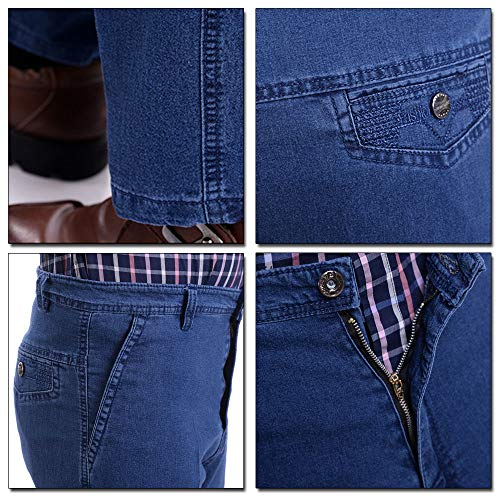 Hombre Cintura Jeans de Azul Stretch Pantalones Claro Ligeros Alta Gran Tamaño Pantalones XFentech z6qgAw