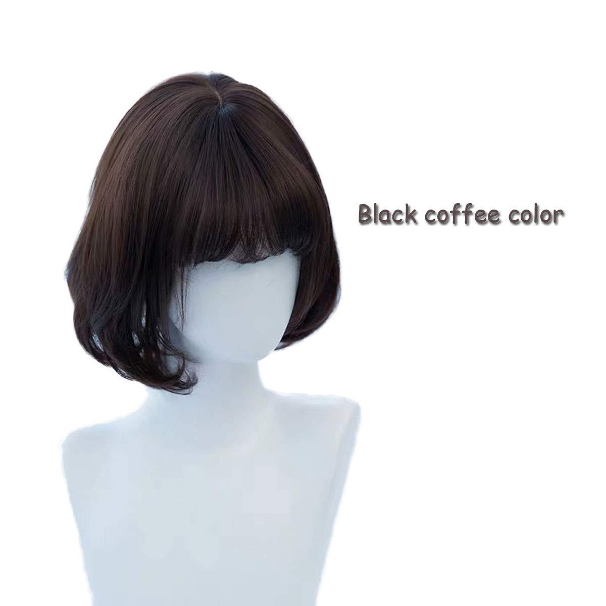Web oficial Fengkuo Peluca Cabello Corto Corto Corto Femenino Cabezal Bobo Headgear Completo Hebilla Interior rojo Corto rojo Peluca de Pelo Rizado Conjunto Peluca Llena ( Color   negro Coffee )  moda
