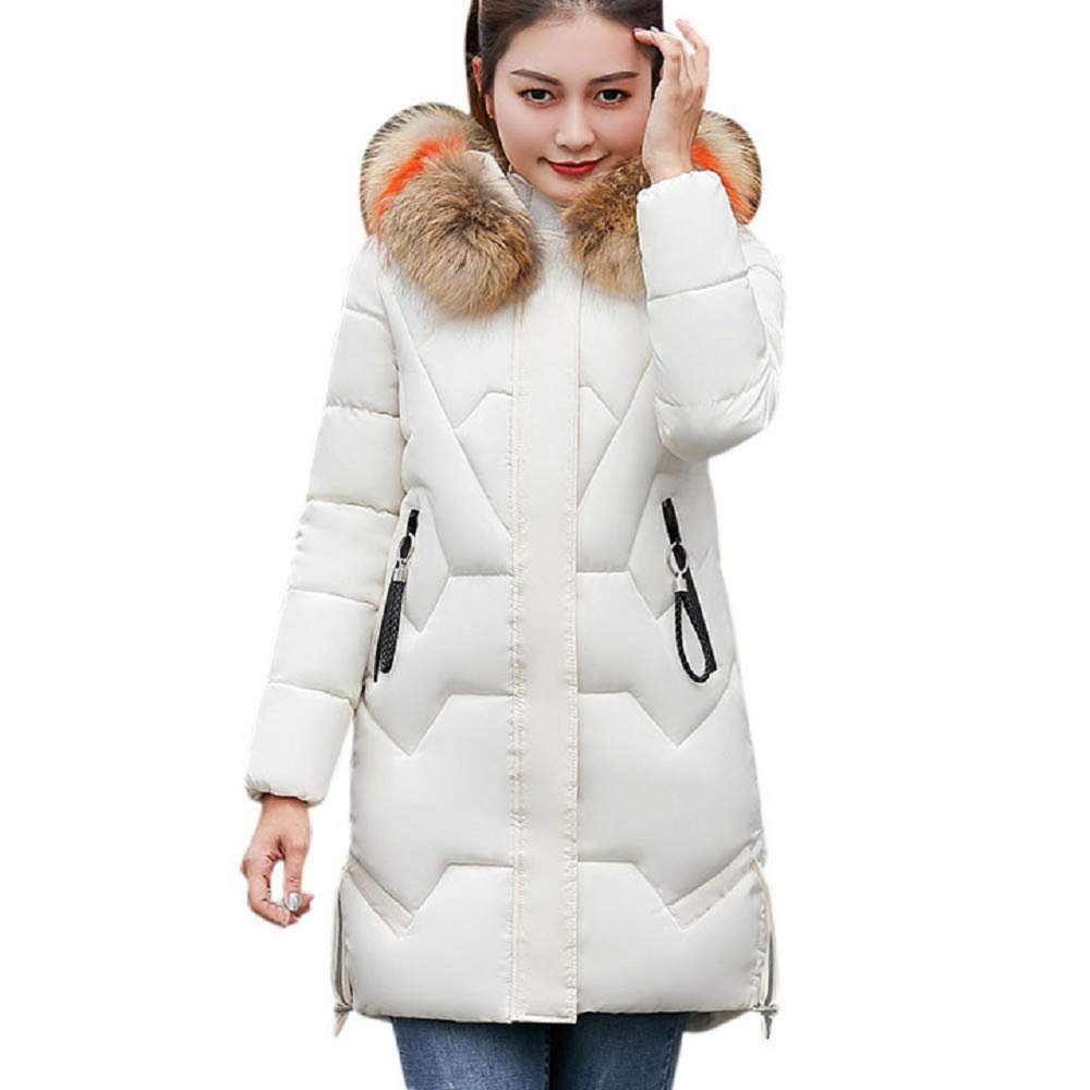 CHIDY Women's Winter Warm Coat Faux Fur Hooded Thickened Warm Slim Jacket Long Overcoat Outwear (Large,White) by CHIDY