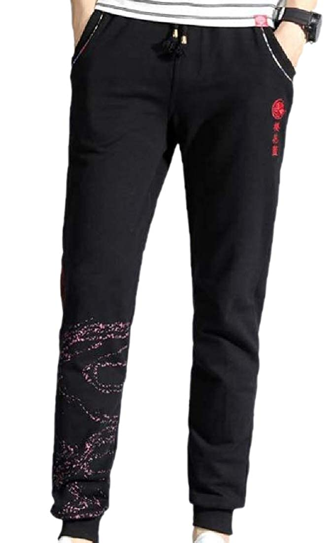 YUNY Men Traditional Embroidered Oversized Sweatpants Strings Red 2XL