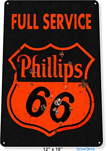 """TIN SIGN 12"""" x 18"""" Phillips 66 Rustic Gas Oil Metal Plaque Decor Fuel Station Tinworld A760"""