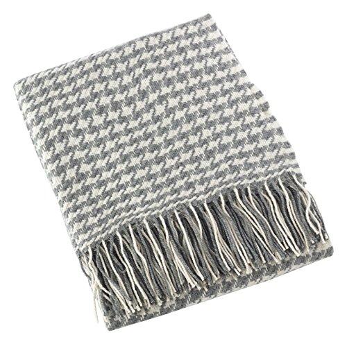 "SARO LIFESTYLE Sevan Collection Houndstooth Design Throw Blanket, 50"" x 60"", Grey"