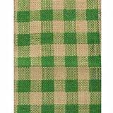 6'' Wide x 10 Yards Checker Design Natural Burlap Ribbon (Green)