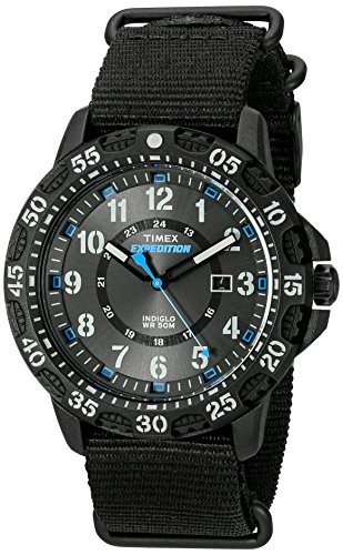 (Timex Men's TW4B03500 Expedition Gallatin Black/Blue Nylon Slip-Thru Strap)