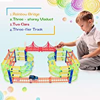 QQPOW Track Rail + 2 Light Up Race Car Building Block City Bridge Set Toddler DIY Toys Flexible Track Race Series GIFTS for boys and girls by QQPOWER