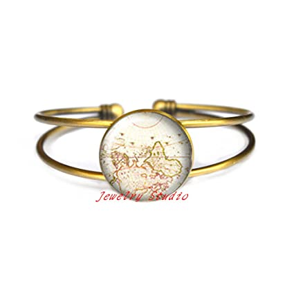 Amazon Com Fashion Map Map Bracelet Antique World Map Silver
