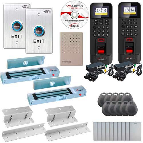 FPC-5851 Two Door Access Control Time Attendance Inswing Door 300lbs Electronic Mag Lock, Wiegand Black Outdoor IP42…