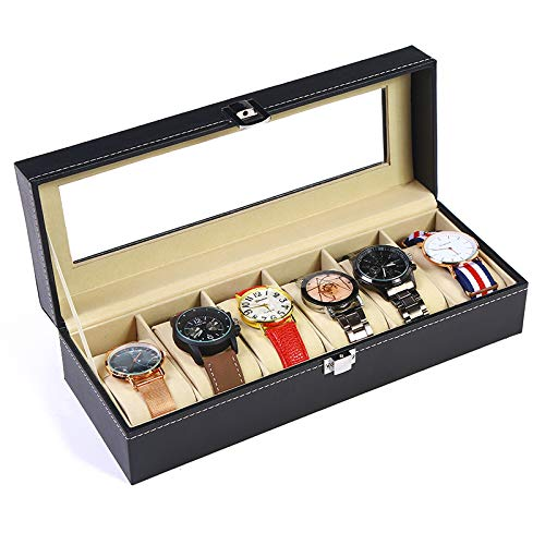 Kingdoo Watch Box for Men Black PU Leather Display Clear Top Jewelry Case Organizer (6slot) by Kingdoo (Image #1)