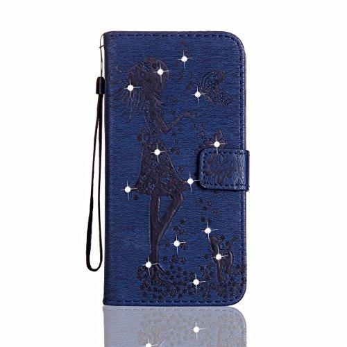 Funda Galaxy J7, Funda de brillo Galaxy J7, Lifetrut Sólido Shiny Sparkle Libro de Estilo de Cuero con Ranura para Tarjetas de Cierre Magnético Soporte Funda de Teléfono de la Función con Correa de Mu E204-Armada