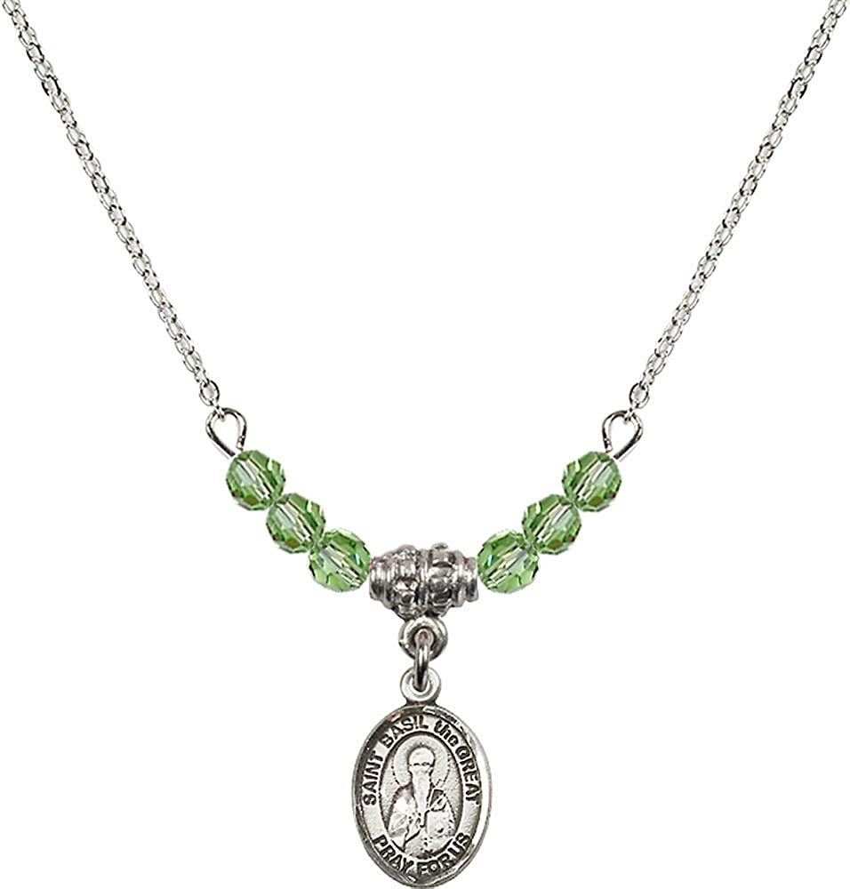 18-Inch Rhodium Plated Necklace with 4mm Peridot Birthstone Beads and Sterling Silver Saint Basil the Great Charm.