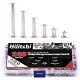 Hilitchi 120-Sets M5 x 5/10 / 15/25 / 35/45 Phillips Chicago Screw Posts Binding Screws Assortment Kit for Scrapbook Photo Albums Binding, Leather Repair